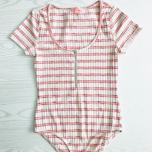Renamed Half Zip Striped Short Sleeve Body Suit